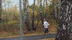 Den unga blonda kvinnan som kör i hösten, parkerar arkivfilmer