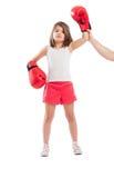 Den unga boxareflickan är en vinnare Arkivfoto