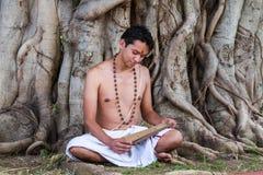 Den unga brahminen läser scripture royaltyfria bilder