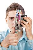 Den unga datoren iscensätter Fotografering för Bildbyråer