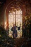 Den unga gothflickan poserar bak en port Arkivbild