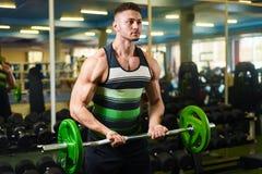 Den unga grabben lyfter skivstången för biceps Muskul?s manutbildning i idrottshallen _ arkivbild