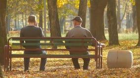 Den unga grabben och en äldre man sitter på en bänk i parkerar i höst på en solig dag Olika ålderutvecklingar i en lager videofilmer