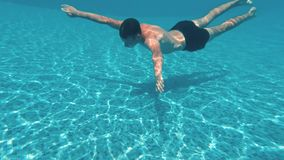 Den unga grabben simmar undervattens- i en simbassäng stock video