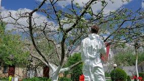 Den unga grabben tar omsorg av hans trädgård lager videofilmer