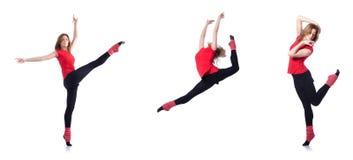 Den unga gymnasten som övar på vit Royaltyfri Fotografi