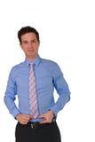 Den unga härliga affärsmannen med ett problem isolted på vit bakgrund Royaltyfria Bilder