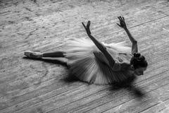 Den unga härliga ballerina poserar i studio royaltyfria foton