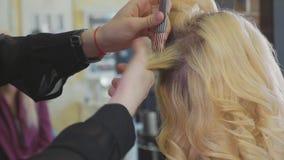 Den unga härliga barberareflickan tillfogar volymfrisyren till den nätta kvinnliga klienten stock video