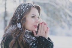 Den unga härliga brunettflickan värme hans händer i förkylningen fotografering för bildbyråer