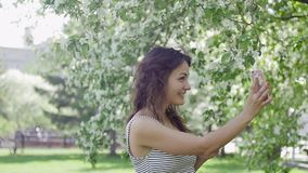 Den unga härliga brunettkvinnan talar på telefonen i parkera arkivfilmer