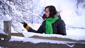 Den unga härliga flickan i vinterskog flickan ser dettäckte trädet Hon trycker på de snöig filialerna med stock video