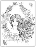 Den unga härliga flickan med långt hår i rich dekorerade blom- klappar Arkivfoto