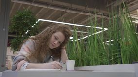 Den unga härliga flickan med rött hår dricker en latte från ett sugrör och tar anmärkningar i en anteckningsbok lager videofilmer