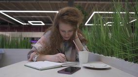 Den unga härliga kvinnan med rött hår sitter i ett kafé och skriver in i en anteckningsbok stock video