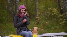 Den unga härliga kvinnan som tar mobiltelefonen från hennes påse som sitter på bänk i höst, parkerar Kvinna som använder henne sm lager videofilmer