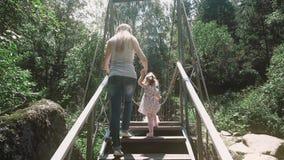 Den unga härliga modern stiger lite barnet på en träbro över floden, i skogen stock video