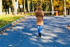 Den unga härliga tunna slanka flickan, en kvinna i ett brunt lag med långt hår går i hösten parkerar med gula sidor arkivbild