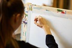 Den unga h?rliga blonda flickan i ikl?dd svart blus f?r exponeringsglas sitter p? staffli och drar en bild med en blyertspenna royaltyfri bild