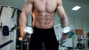 Den unga idrotts- mannen utför muskelövningar stock video