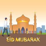 Den unga iklädda europeiska klädermuselmanen går till moskén att fira den muslimska ferien stock illustrationer
