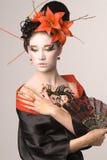 Den unga japanska kvinnan Arkivbild