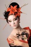 Den unga japanska kvinnan Royaltyfria Bilder