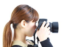 Den unga japanska kvinnan tar bilden Arkivfoton