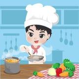 Den unga kocken lagar mat i hans kök royaltyfri illustrationer