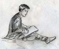 Den unga konstnären skissar Arkivbilder