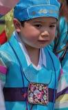 Den unga koreanska pojken deltar i kulturell beröm Royaltyfria Foton