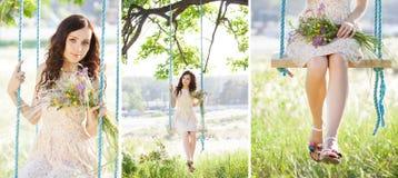 Den unga kvinnan är svängande på en gunga i sommarskogcollage royaltyfri foto