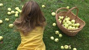 Den unga kvinnan äter det nya äpplet som ligger på gräs i sommarträdgård 4K lager videofilmer