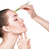 Den unga kvinnan använder aloevera olja för hud Royaltyfri Bild
