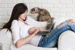 Den unga kvinnan arbetar på den närliggande bärbara datorn och hennes katt arkivfoto