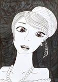 Den unga kvinnan eller flickan med färgrika ögon - räcka teckningen Royaltyfri Bild
