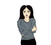 Den unga kvinnan fryste Ståendepop-konst bakgrund isolerad white Arkivfoton