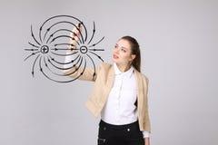 Den unga kvinnan, fysiklärare drar ett diagram av det elektriska fältet arkivbild