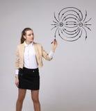 Den unga kvinnan, fysiklärare drar ett diagram av det elektriska fältet arkivfoto