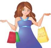 Den unga kvinnan går för att shoppa Royaltyfri Foto