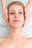 Den unga kvinnan i brunnsort får en ansikts- massage arkivfoto