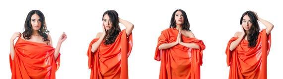 Den unga kvinnan i modebegrepp Fotografering för Bildbyråer