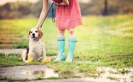 Den unga kvinnan i wellies går hennes hund Arkivfoto