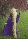 Den unga kvinnan klädde som sagateckenet Rapunzel Royaltyfri Fotografi