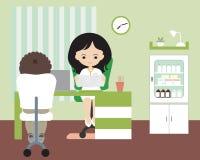 Den unga kvinnan - manipulera att sitta i regeringsställning eller kirurgi på stol på la vektor illustrationer