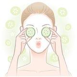 Den unga kvinnan med ansiktsbehandling maskerar royaltyfri illustrationer