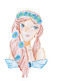 Den unga kvinnan med blommor i hennes hår - räcka teckningen Royaltyfri Fotografi