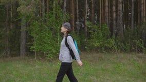 Den unga kvinnan med en ryggsäck i en vandring promenerar en slinga i bakgrunden av en skog arkivfilmer