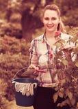 Den unga kvinnan med långa luktrosor för lockigt hår blommar utomhus- Arkivfoton