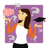 Den unga kvinnan oroar om studenten Loans royaltyfri illustrationer